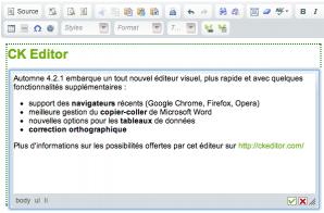 Editeur visuel WYSIWYG